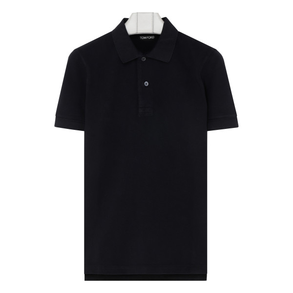 Navy cotton piqué polo
