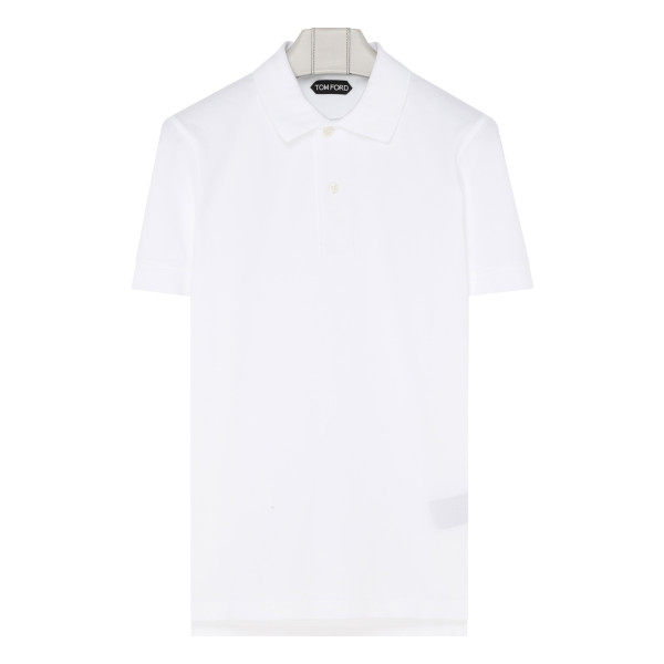 White cotton piqué polo
