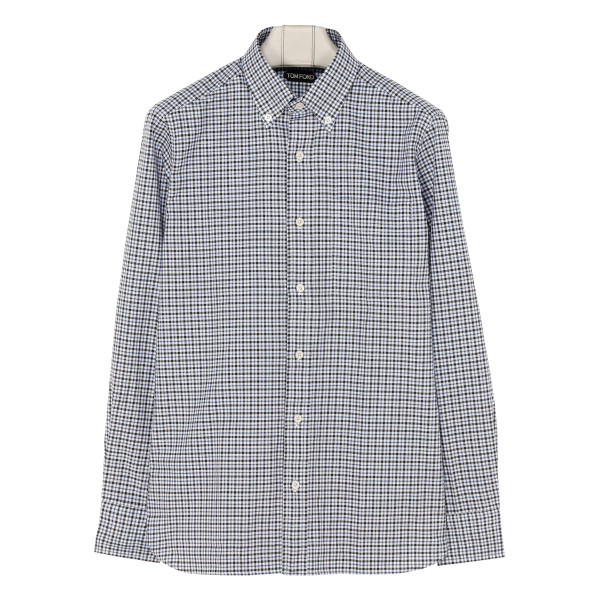 Check button-down collar