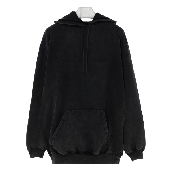 Anthracite vintage hoodie with logo