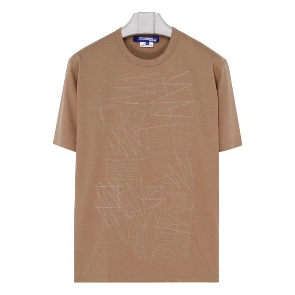 Beige T-shirt with stitchings
