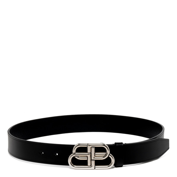 BB black leather belt