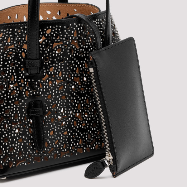 Black Mina laser-cut leather tote