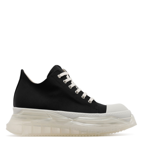 Abstract black canvas low-top sneakers