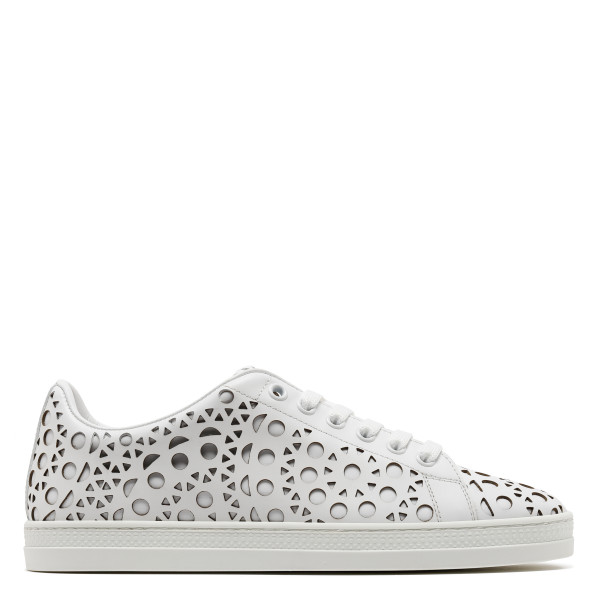 White laser-cut leather sneakers