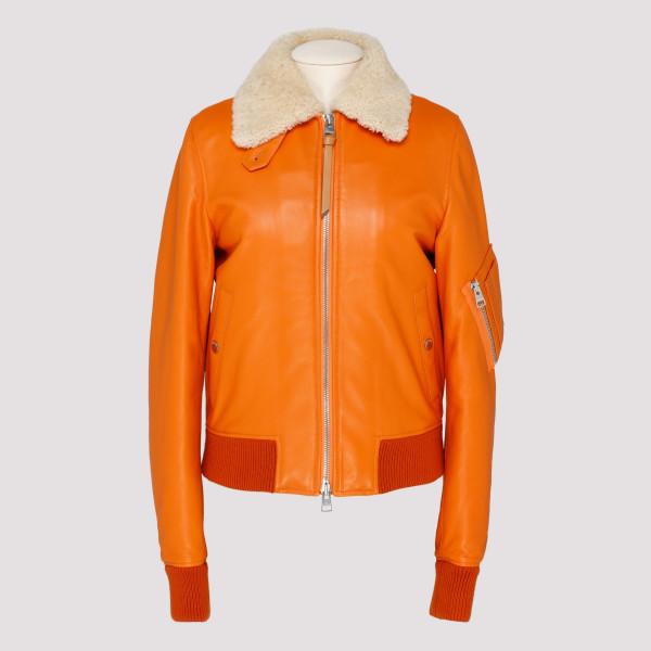 Orange leather shearling jacket