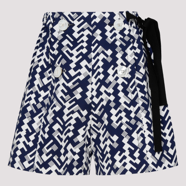 Blue and white high waist shorts