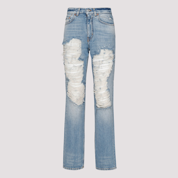 Distressed blue denim jeans