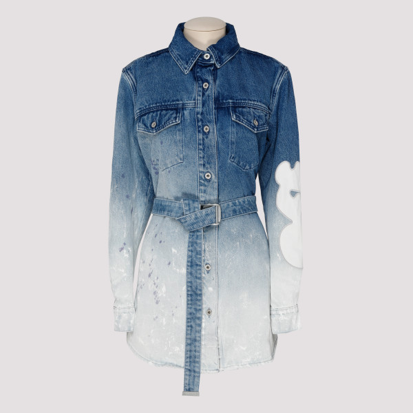 Bleached belted denim dress