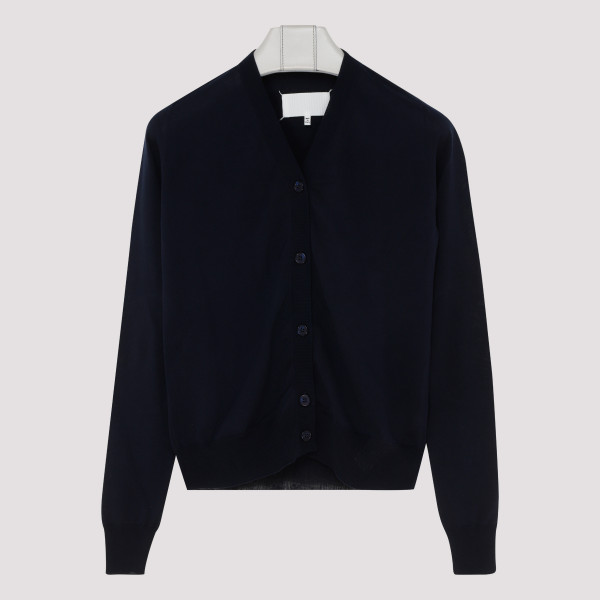Navy cotton buttoned cardigan