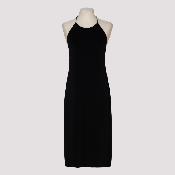 Black halter-neck dress