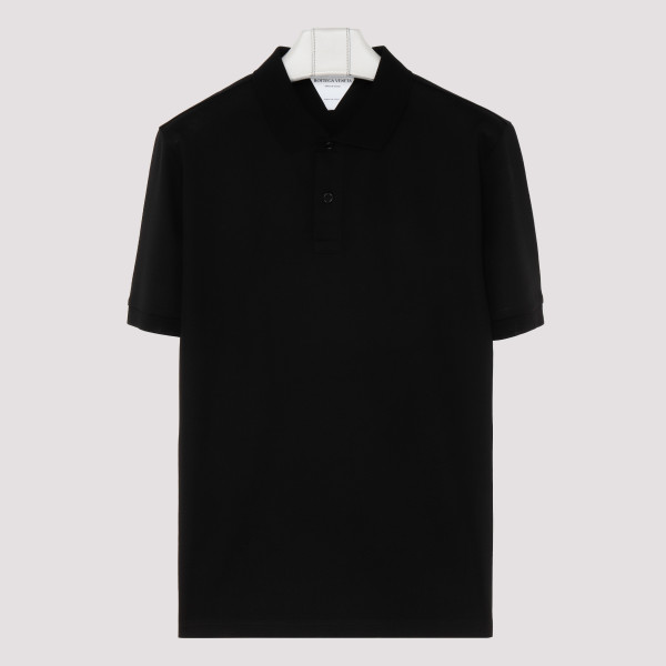 Black cotton piqué polo