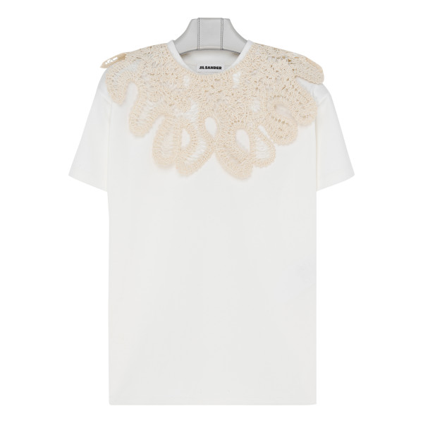 Embroidered white cotton T-shirt