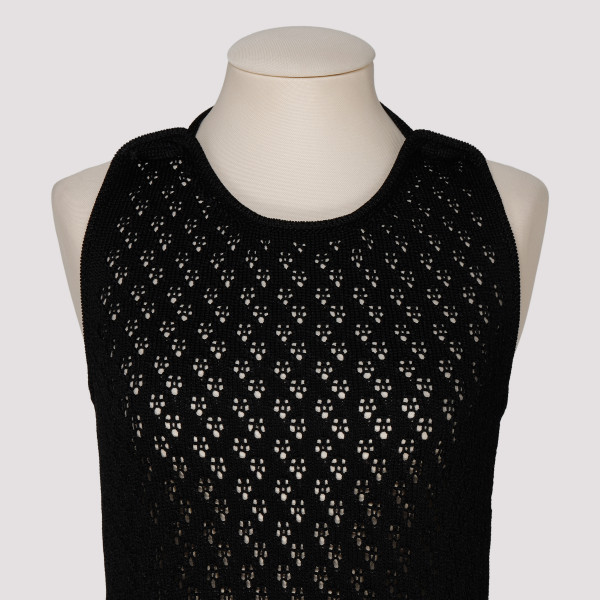 Black crochet open knit dress