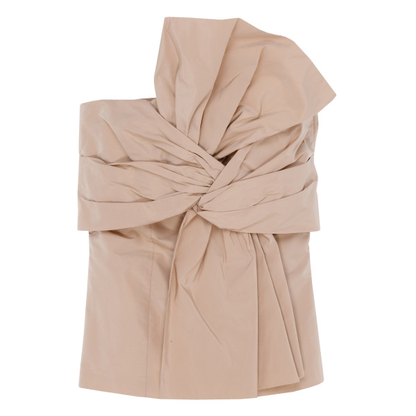 Beige taffeta bustier with bow