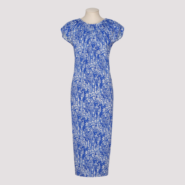 Blue printed midi dress