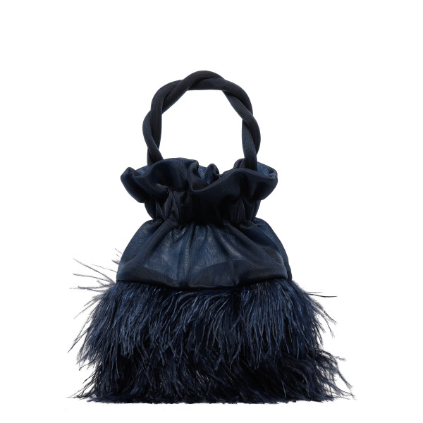 Grace blue tulle and feathers handbag