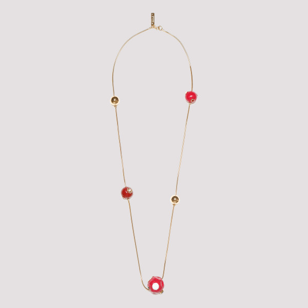 Golden metal necklace with...