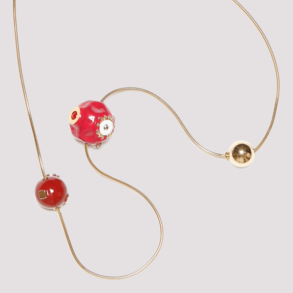 Golden metal necklace with charms