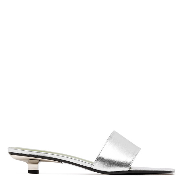 Ceni silver leather mule sandals