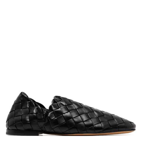 Black intrecciato leather slippers