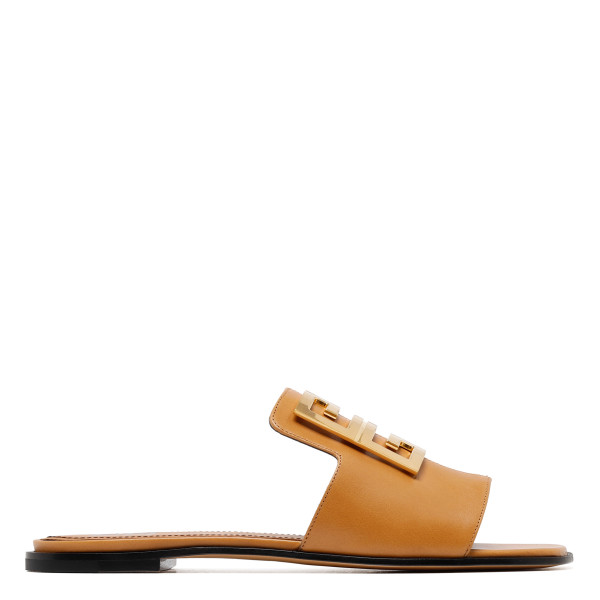 4G tan leather mule sandals