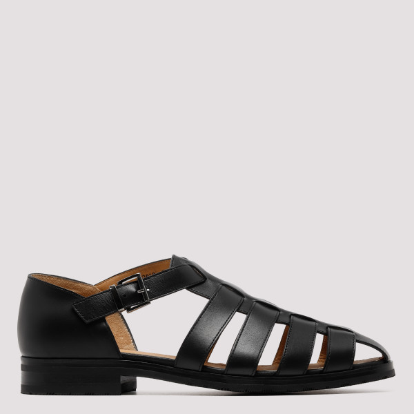 Pacific black leather sandals