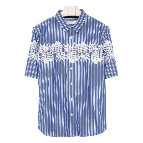Blue embroidered plant print shirt