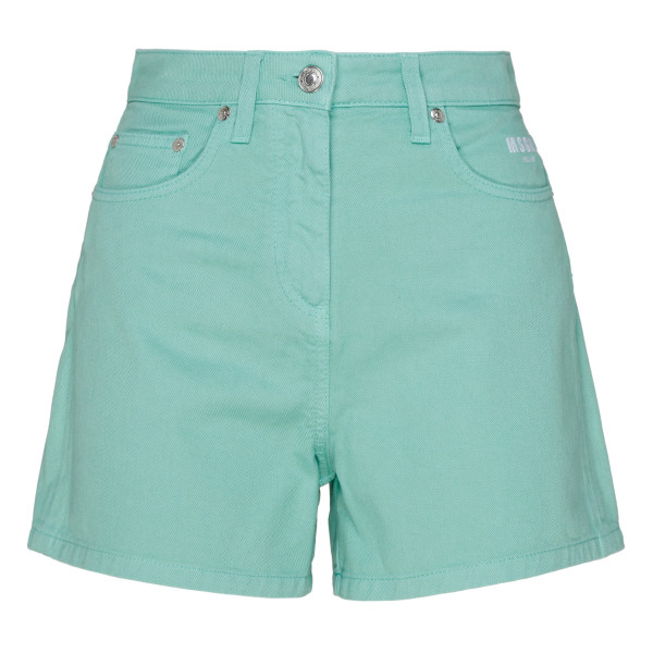 Green denim shorts with logo