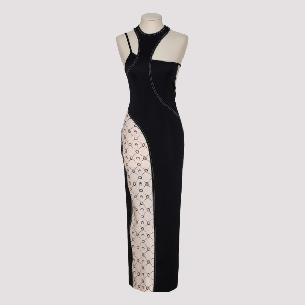 Halterneck panelled dress