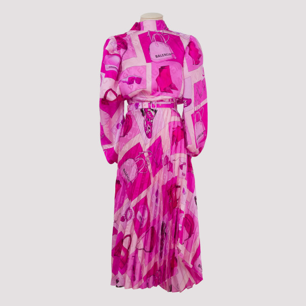 Pink Twisted Pleated Dress