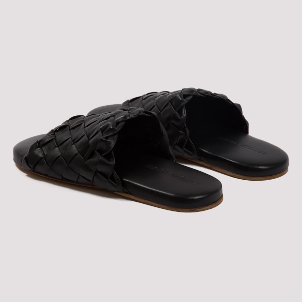 Black intrecciato weave slide sandals