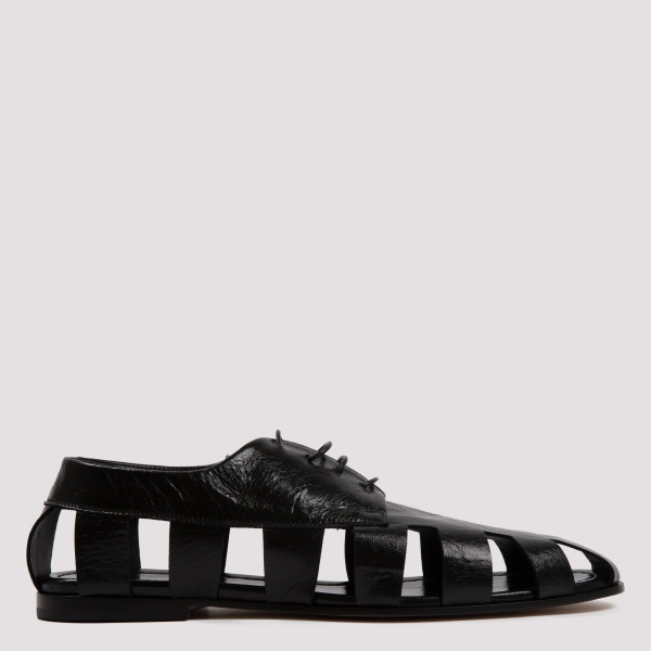 Black leather cut-out derby...