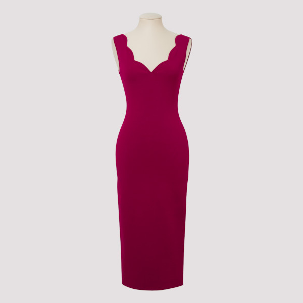 Magenta stretch jersey dress