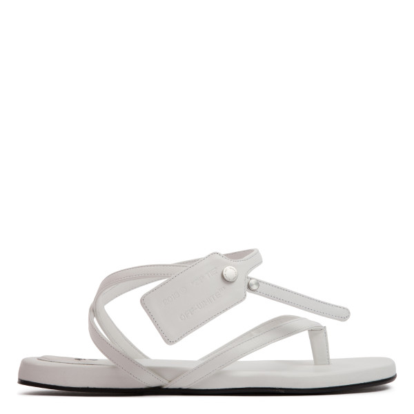 Zip-tie white flat sandals