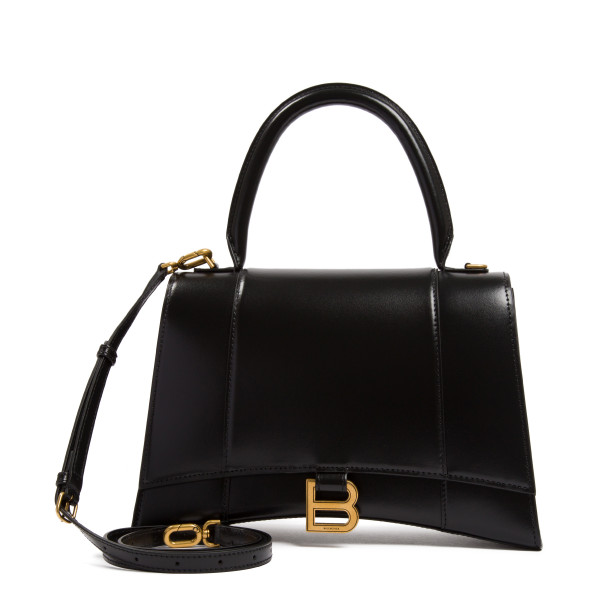 Hourglass black leather medium bag