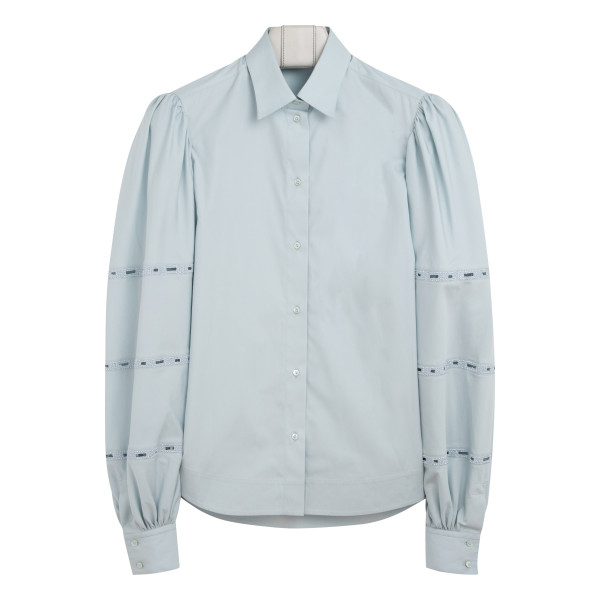 Blue shirt with embroidery