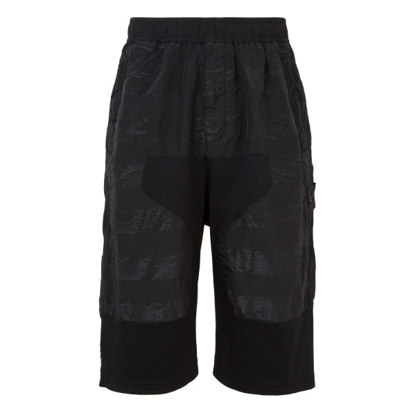 Black Long panelled bermuda shorts