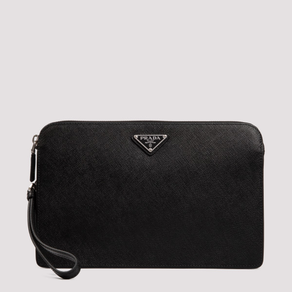 Black saffiano leather pouch