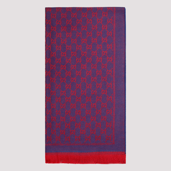 Purple and red wool GG scarf