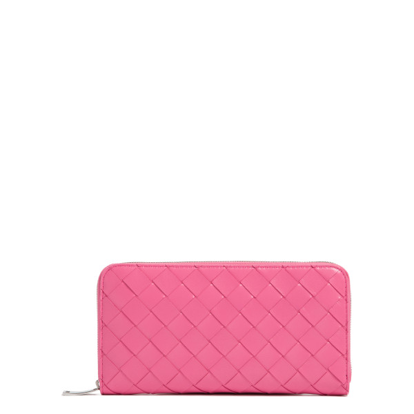 Pink intrecciato zip around wallet