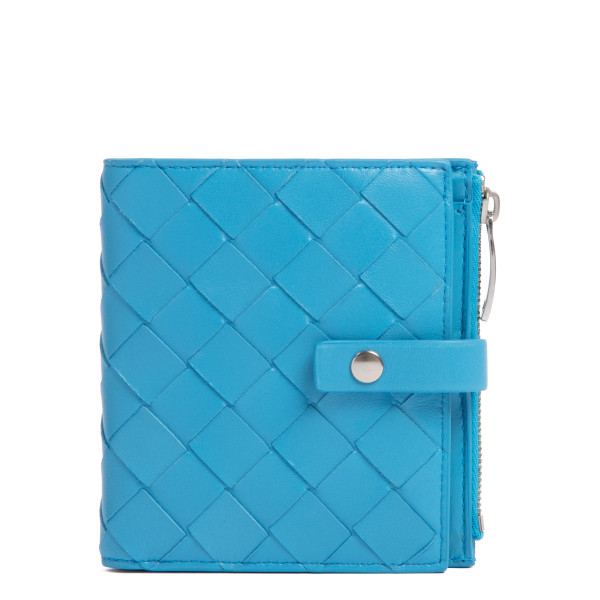 Turquoise intrecciato mini French wallet