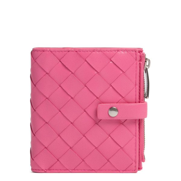 Pink intrecciato mini French wallet