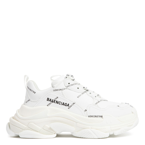 Triple S white sneakers with logo