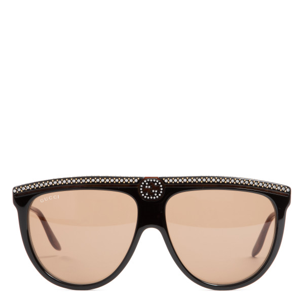 Aviator acetate sunglasses with crystals