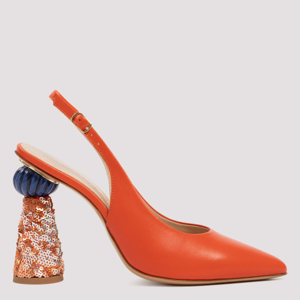 Loiza orange slingback pumps