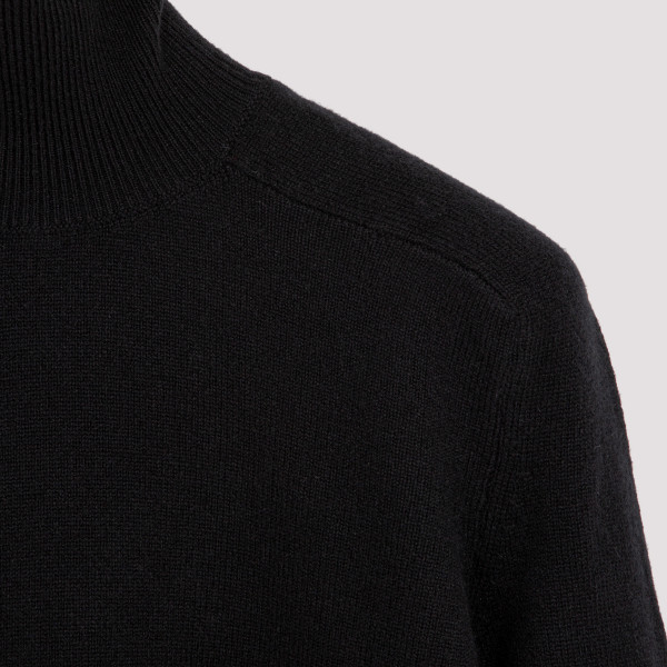 Black wool and cashmere turtleneck sweater