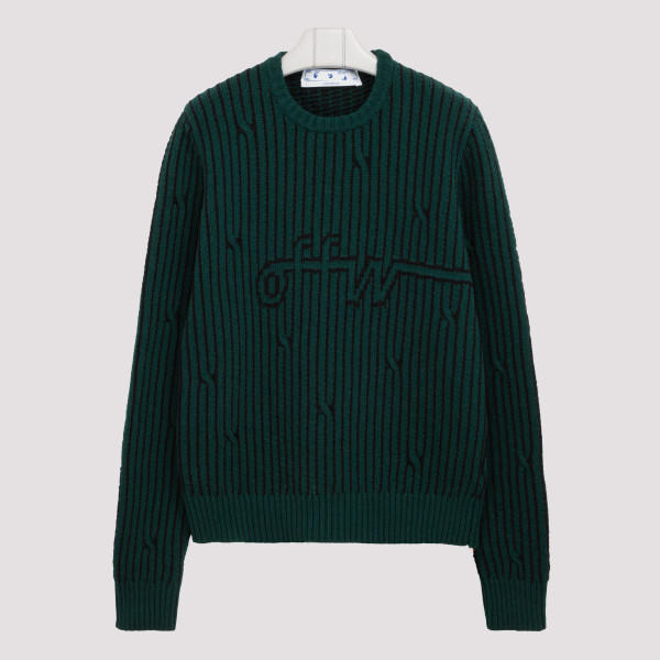 Black and green cable-knit...