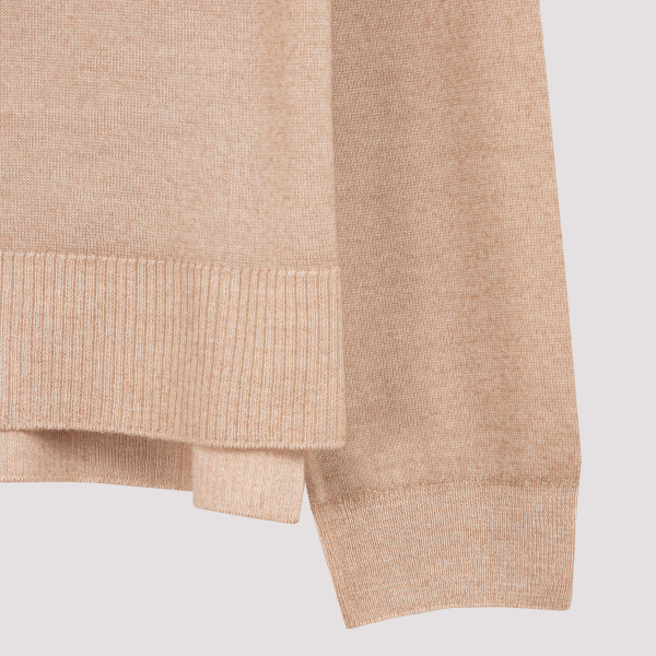 Beige wool and cashmere cardigan