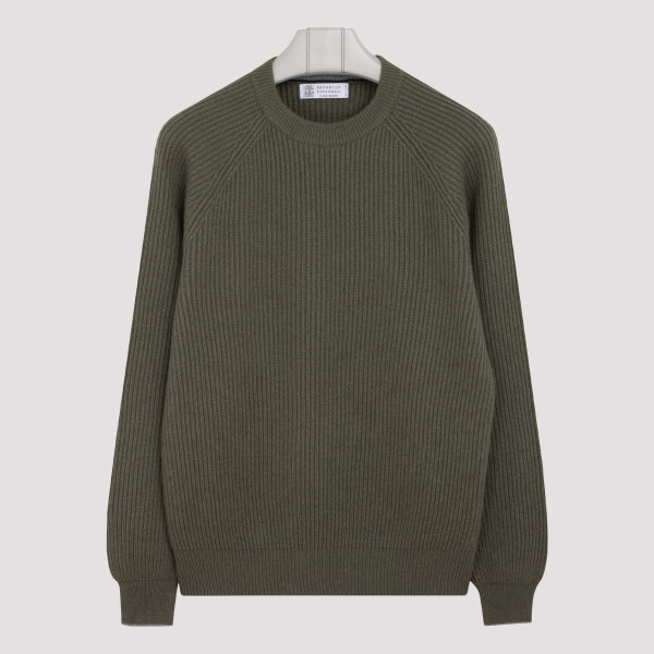 Army green wool blend sweater